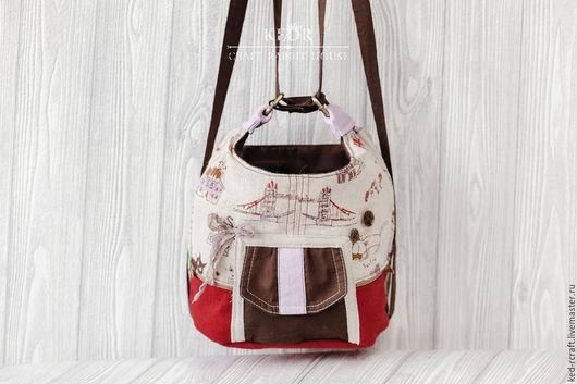 """Рюкзаки ручной работы. Ярмарка Мастеров - ручная работа. Купить рюкзак """"Лето в Лондоне"""" льняная сумочка. Handmade. Коричневый"""