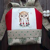 """Рюкзак женский рюкзак текстильный рюкзак с фермуаром """"Сова"""""""