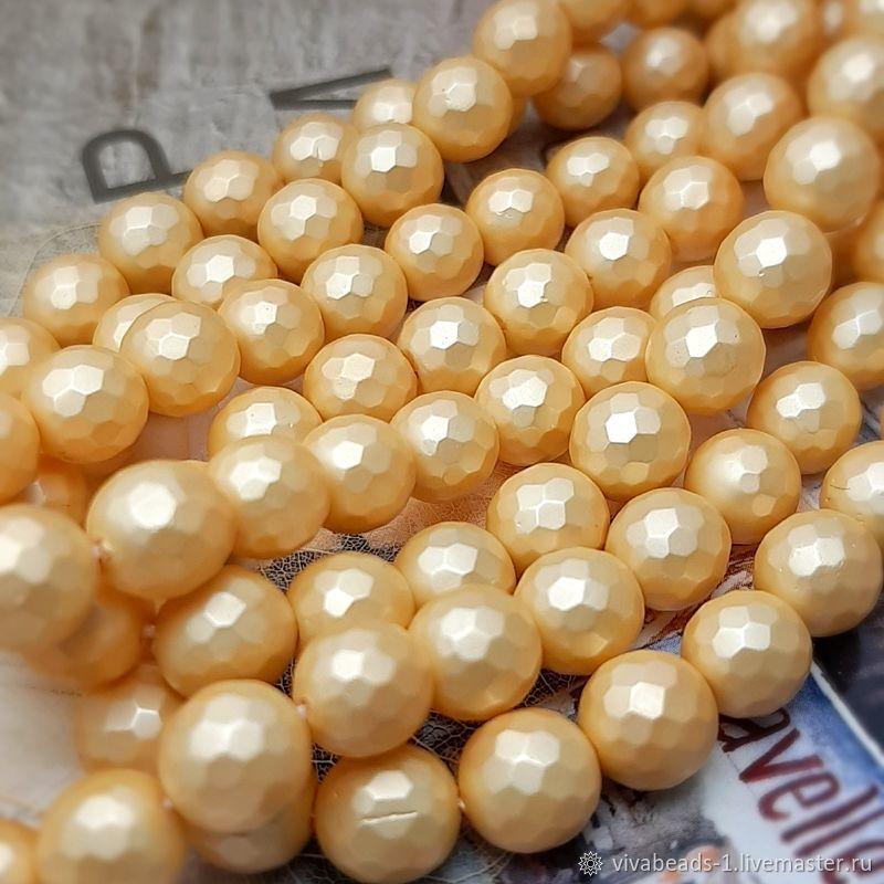 Жемчуг Shell Pearl (аналог майорки) граненый 8 мм золотой (арт. 2623), Бусины, Воронеж, Фото №1