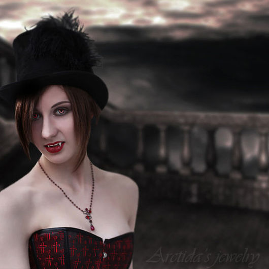 """Готика ручной работы. Ярмарка Мастеров - ручная работа. Купить Колье """"Искушение вампира"""" Гранаты, Рубин, Шпинель. Handmade. Вампир"""