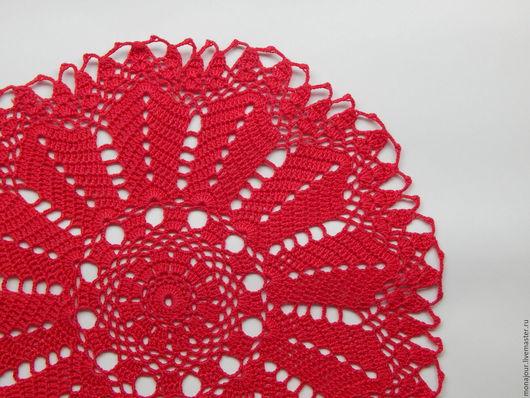 Текстиль, ковры ручной работы. Ярмарка Мастеров - ручная работа. Купить Салфетка вязаная крючком. Handmade. Ярко-красный