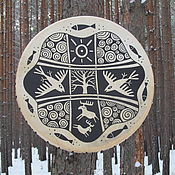 Музыкальные инструменты handmade. Livemaster - original item Winter forest. Drum leather. 40 see. Handmade.
