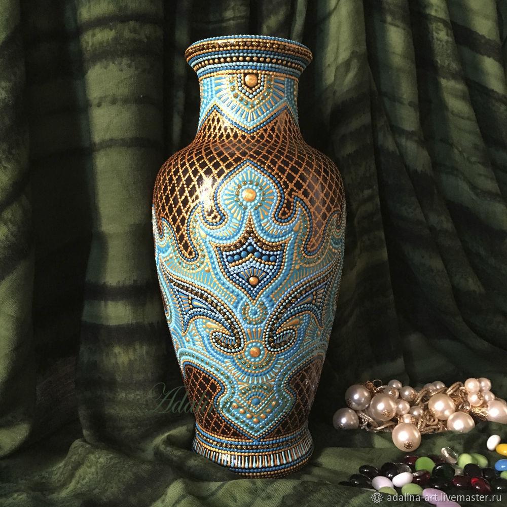 Ваза ДАР МАХАРАДЖИ. БИРЮЗА ваза керамическая Точечная роспись