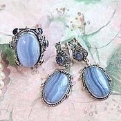Украшения handmade. Livemaster - original item Blue agate, cordierite (set) (311). Handmade.