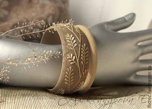 """Браслеты ручной работы. Ярмарка Мастеров - ручная работа. Купить Комплект браслетов """"Жар-трава"""" из полимерной глины. Handmade. песочный"""