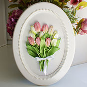 handmade. Livemaster - original item Picture ribbons Bouquet of tulips in an oval frame.. Handmade.