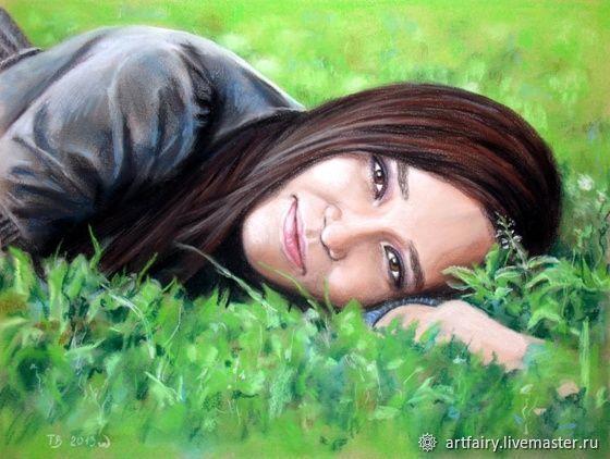 "Портрет по фото ""Девушка на траве"", Pictures, St. Petersburg,  Фото №1"