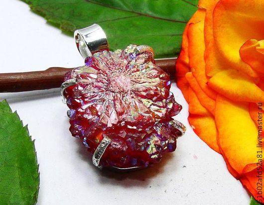 Для украшений ручной работы. Ярмарка Мастеров - ручная работа. Купить Кварцевая роза с титановым покрытием.. Handmade. Бордовый