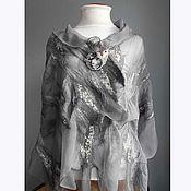 """Аксессуары ручной работы. Ярмарка Мастеров - ручная работа палантин """"Летний дождь (серый)"""", войлок, шелк. Handmade."""