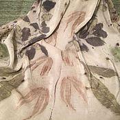 Аксессуары ручной работы. Ярмарка Мастеров - ручная работа Шелковый шарф Эко принт N2. Handmade.