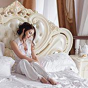 Одежда ручной работы. Ярмарка Мастеров - ручная работа Белый комплект-пижама с кружевом. Handmade.