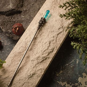 Украшения ручной работы. Ярмарка Мастеров - ручная работа Палочки для волос с голубым тонированным горным хрусталем.. Handmade.