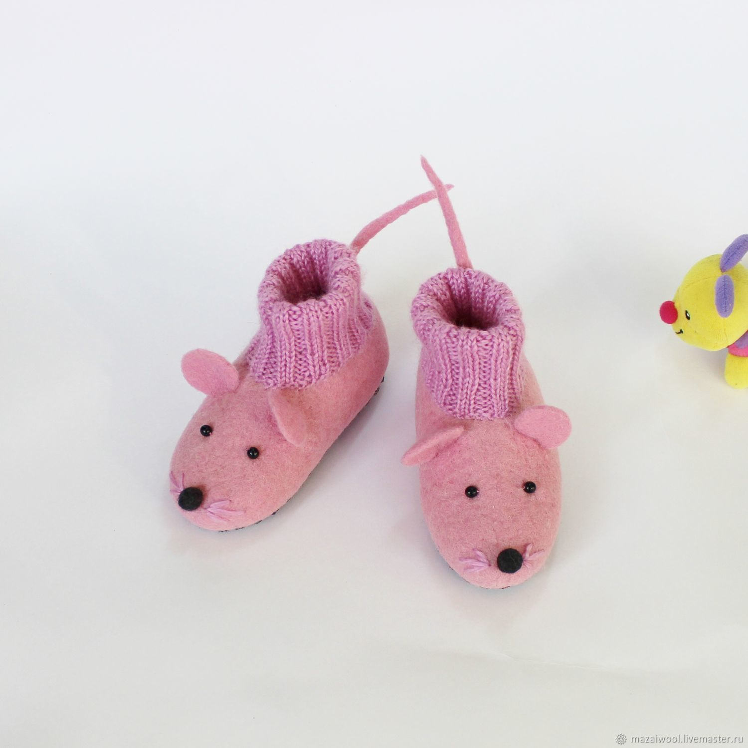 felted slipper socks for children mouse pink – shop online on