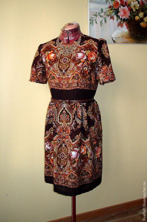 Платья ручной работы. Ярмарка Мастеров - ручная работа. Купить Платье из павлопосадского платка коричневое. Handmade. Длинный, черное платье