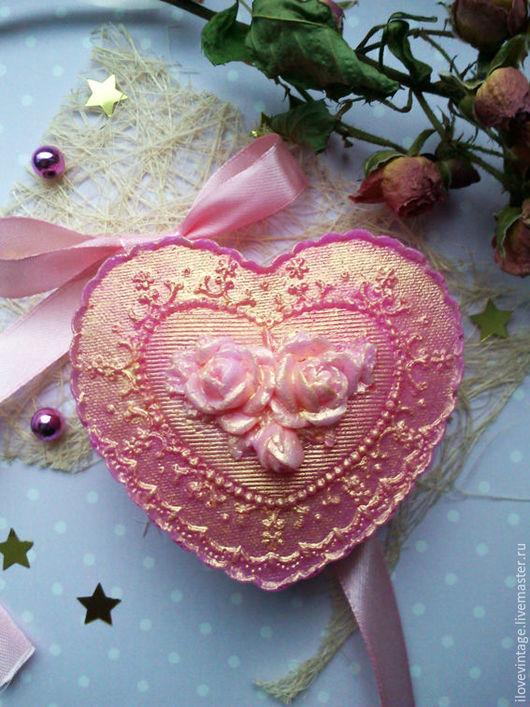 """Мыло ручной работы. Ярмарка Мастеров - ручная работа. Купить Мыло """"Сердце с розами"""" (2 варианта). Handmade. Розовый"""