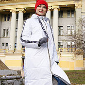 Одежда handmade. Livemaster - original item White women`s coat, quilted coat, Loose Jacket with hood. Handmade.