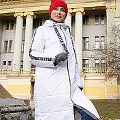 Одежда handmade. Livemaster - original item White women`s spring jacket, white quilted coat with stripes. Handmade.