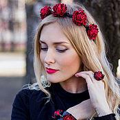 Украшения handmade. Livemaster - original item Bezel leather Thorns and roses. Decoration of leather for the hair. Handmade.