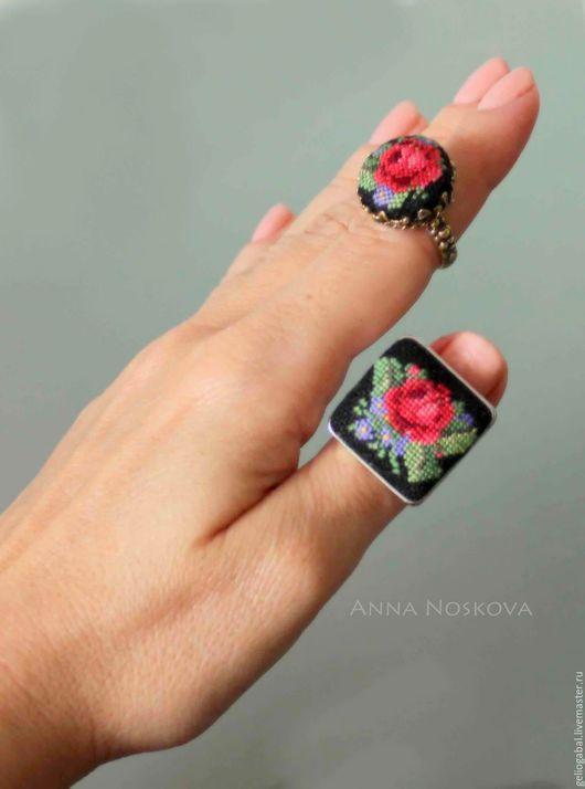 Кольца ручной работы. Ярмарка Мастеров - ручная работа. Купить Перстень с вышивкой. Handmade. Серебряный, перстень с вышивкой, роза