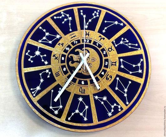 """Часы для дома ручной работы. Ярмарка Мастеров - ручная работа. Купить Часы настенные """"Гороскоп-3"""". Handmade. Тёмно-синий"""