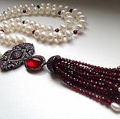 Украшения handmade. Livemaster - original item With pendant of pearls with garnet and zircons.. Handmade.