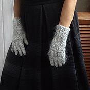 Аксессуары handmade. Livemaster - original item 327, feather Gloves Light gray fuzz. Handmade.