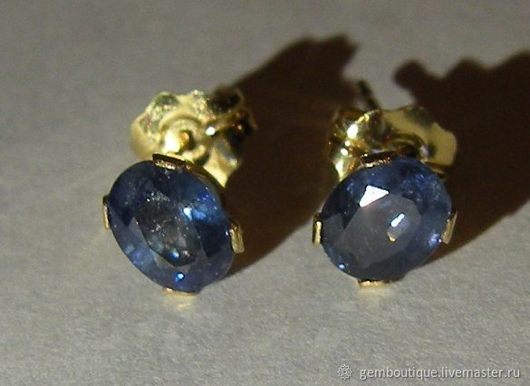 Natural 0.87 K sapphires & 585 gold earrings, Stud earrings, Moscow,  Фото №1