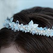Свадебный салон handmade. Livemaster - original item Wedding wreath on the head with a bow, Tiara for the bride. Handmade.