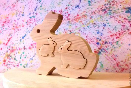 Развивающие игрушки ручной работы. Ярмарка Мастеров - ручная работа. Купить Сувенир пазл вставка зайцы. Handmade. Комбинированный, сувенир