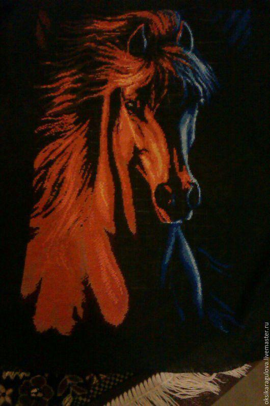 Животные ручной работы. Ярмарка Мастеров - ручная работа. Купить Конь. Handmade. Черный, Вышивка крестом, нитки для вышивания