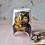 """Посуда ручной работы. Ярмарка Мастеров - ручная работа """"Портрет кошки"""" - чашка с ножками. Handmade."""