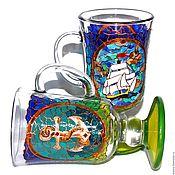 """Посуда ручной работы. Ярмарка Мастеров - ручная работа Набор для кофе или глинтвейна """"На парусах мечты"""". Handmade."""