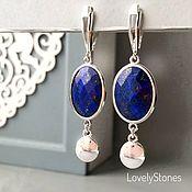 Украшения handmade. Livemaster - original item Indigo earrings with blue lapis lazuli on silver locks. Handmade.