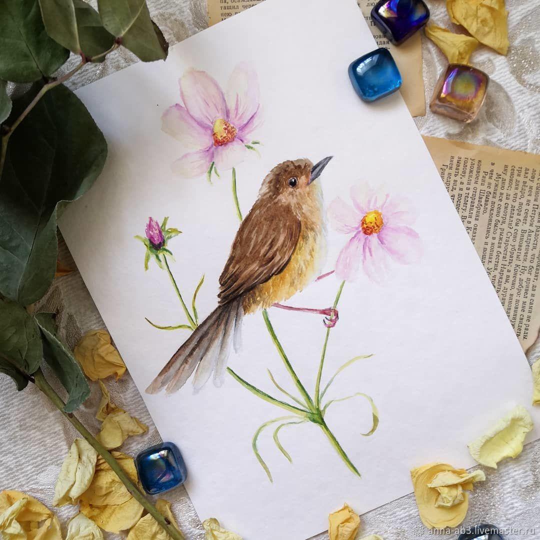 Иллюстрация. Птичка на цветке, Иллюстрации, Нижний Новгород,  Фото №1