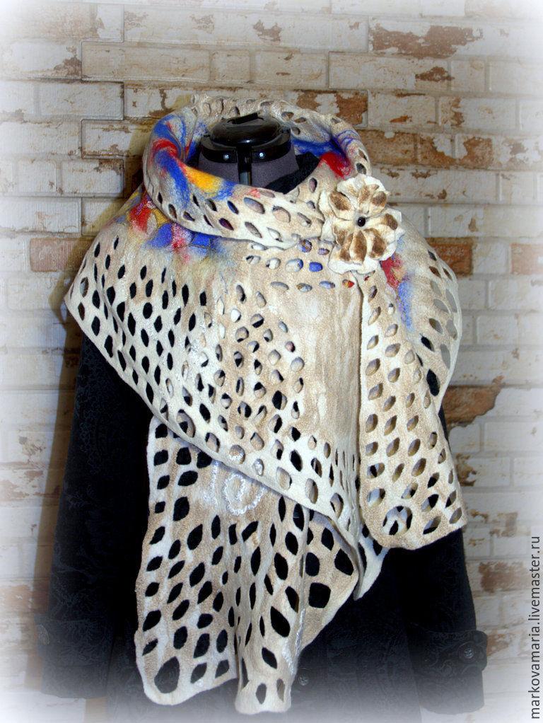 валяние из шерсти на шелке фото шарф