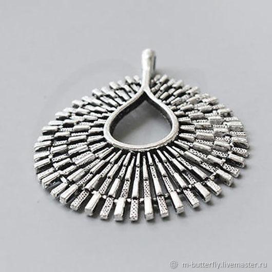 """Подвеска """"Солнце"""", античное серебро, 67 мм, Бусины, Красный Яр, Фото №1"""