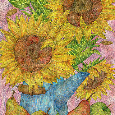 Pictures and panels handmade. Livemaster - original item Bouquet of sunflowers in a blue teapot. Still life with flowers. Handmade.