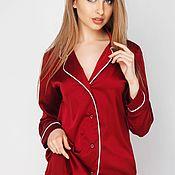 Одежда handmade. Livemaster - original item Silk pajamas with red piping. Handmade.