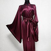 Одежда ручной работы. Ярмарка Мастеров - ручная работа Пеньюар из натурального шелка. Халат-кимоно до пола. Handmade.