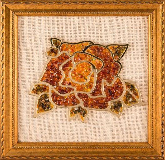 Панно из янтаря `Роза 1: янтарная коллекция` Создайте свою янтарную коллекцию из роз, представленных в нашем магазине!