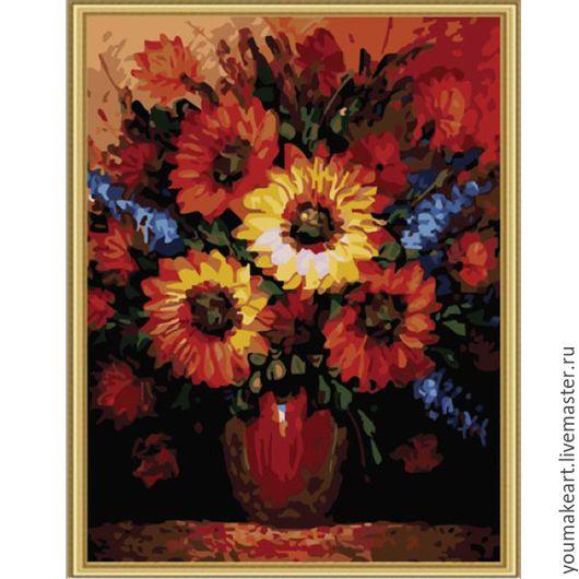 """Картины цветов ручной работы. Ярмарка Мастеров - ручная работа. Купить Картина по номерам """"Огненные цветы"""". Handmade. Бордовый"""