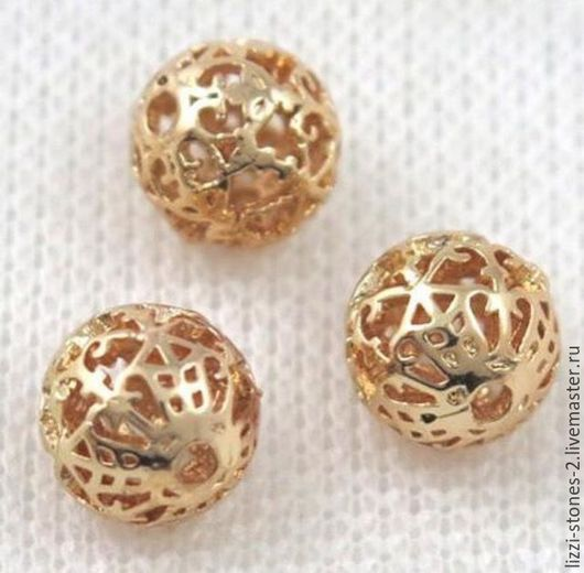Бусина шар с вензелем 9 мм золото (Milano) Евгения (Lizzi-stones-2)