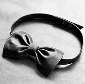 Аксессуары handmade. Livemaster - original item Bow tie made of genuine leather in black. Handmade.