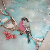 """Аксессуары ручной работы. Ярмарка Мастеров - ручная работа Шарф шелковый """"Снегири и солнце"""". Handmade."""