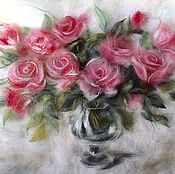 Картины и панно ручной работы. Ярмарка Мастеров - ручная работа Картина из шерсти Пусть в душе Вашей розы цветут.... Handmade.