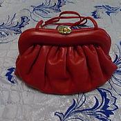 Винтаж handmade. Livemaster - original item clutch bag red leather. Handmade.