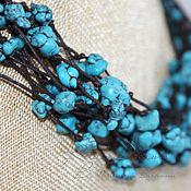 Украшения handmade. Livemaster - original item Beads Turquoise sea turquoise multi-row beads blue cord on the. Handmade.