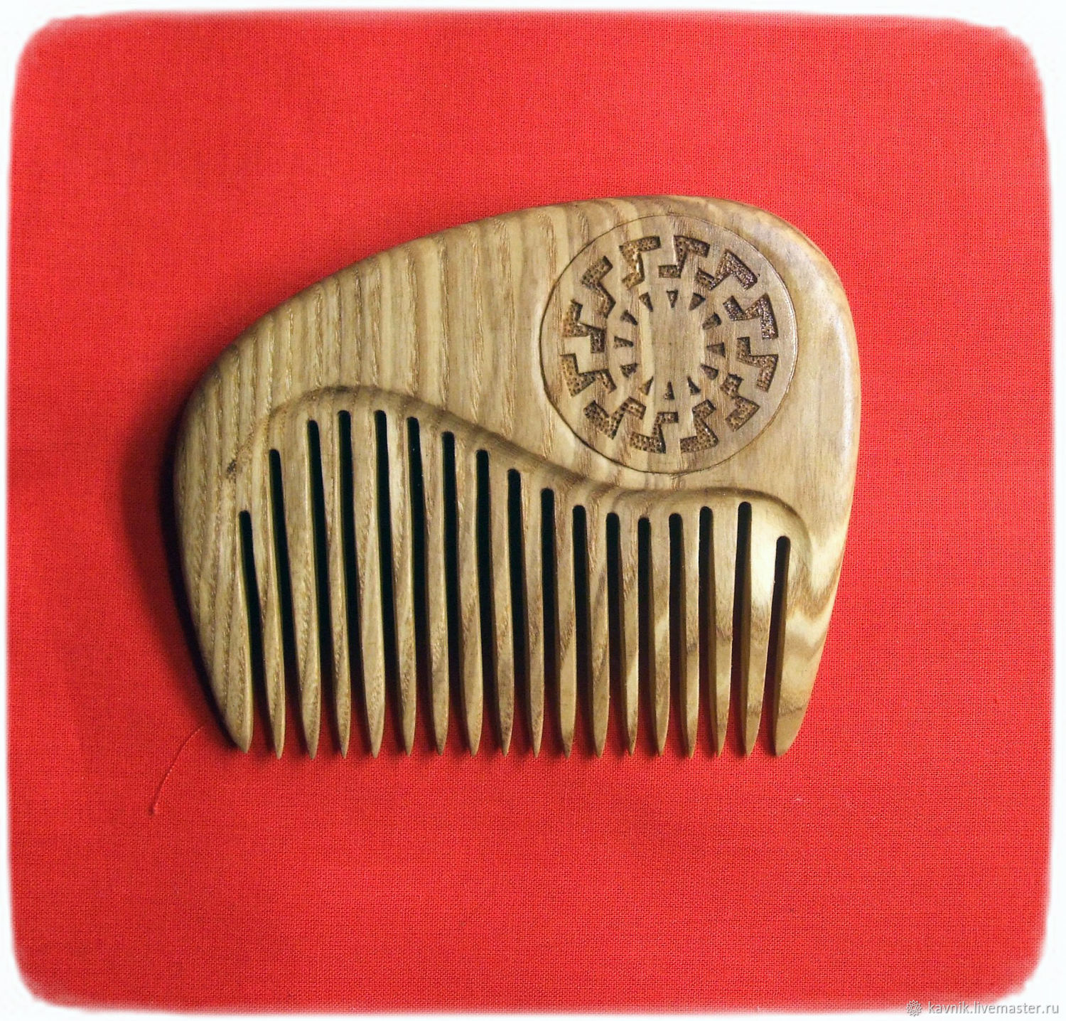 Wooden comb with the symbol of the BLACK SUN, Combs, Moscow,  Фото №1