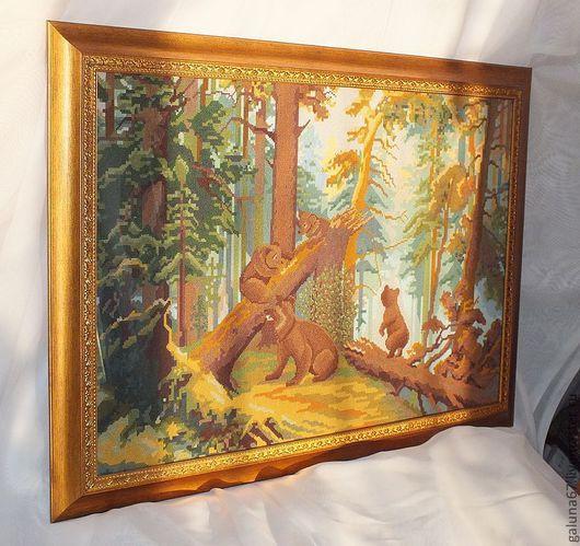 """Пейзаж ручной работы. Ярмарка Мастеров - ручная работа. Купить """"Утро в сосновом лесу"""" вышитая картина. Handmade. Сосны, канва"""