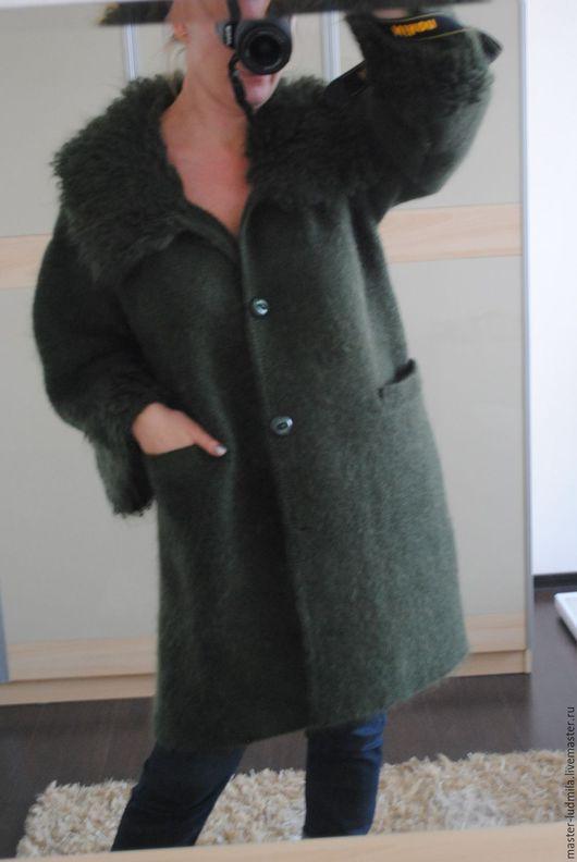 """Верхняя одежда ручной работы. Ярмарка Мастеров - ручная работа. Купить Пальто """"ИЗУМРУД"""". Handmade. Тёмно-зелёный, мохер с акрилом"""